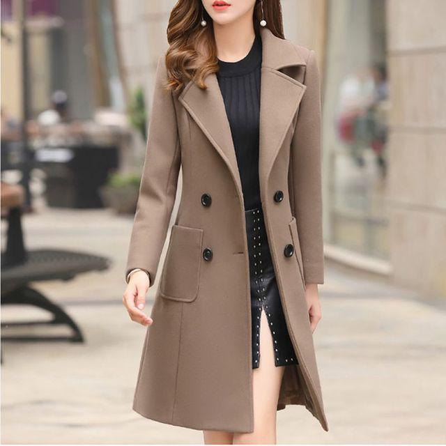 Длинная тонкая Смешанная верхняя одежда 2019 Женское пальто шерстяное пальто осенне-зимняя куртка одежда