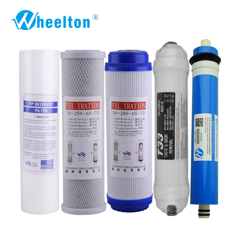 Wheelton New Water Purifier 5 Stage Filter Cartridge 75 gpd RO Membrane Reverse Osmosis System Water Filters For Household 2 pcs water filter parts 1 4 tank ball valve for tube quick connect switch water purifier ro reverse osmosis system