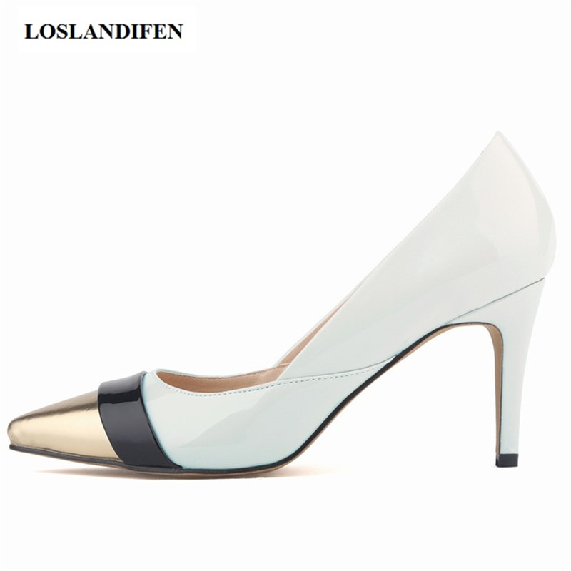 LOSLANDIFEN 6 cm Thin High Heel Pointed Toe Sexy patchwork Shallow Mouth Women Spring Autumn Elegant Work Pumps Lady's Chaussure burgundy gray saphire blue pink women dress party career work shoes flock shallow mouth stiletto thin high heel pumps