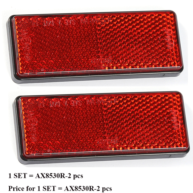2 PCS RED reflector  rectangula reflect strip for trailer truck lorry bus RV caravan camp bike self adhesive car accessories