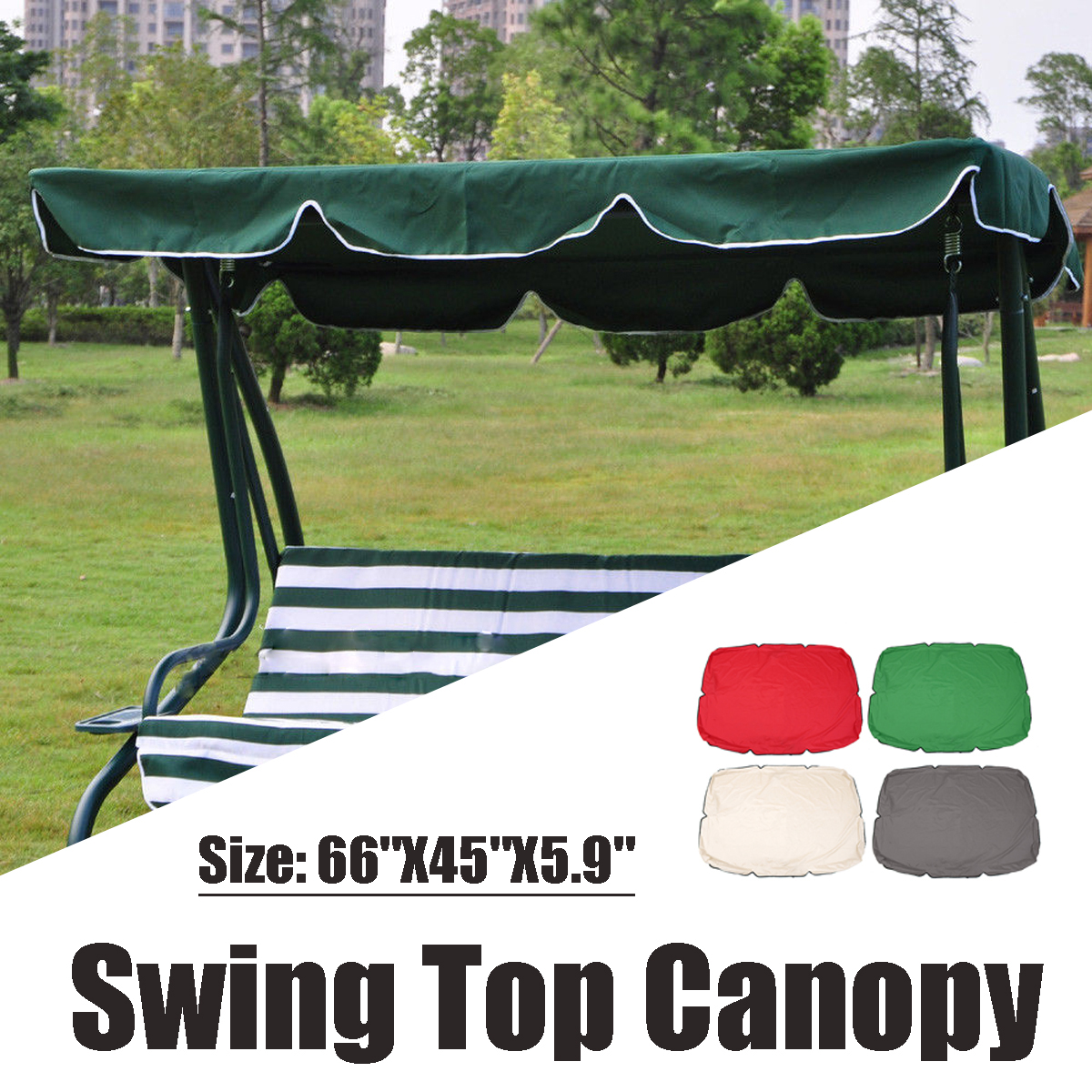 """66""""X45""""X5.9"""" Waterproof Swing Chair Awning Top Cover ..."""