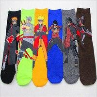 5 Pairs Lot Naruto Cotton Cartoon Socks Personality Tide Socks Anime Men Calcetines Casual Sock Autumn