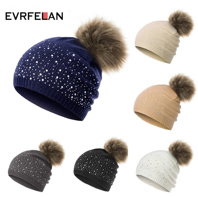 Evrfelan Hot Selling Women's Winter Beanies Hat Knit Beanie Hat Pompom Female Rhinestone Skullies Hat Cap bonnet gorros