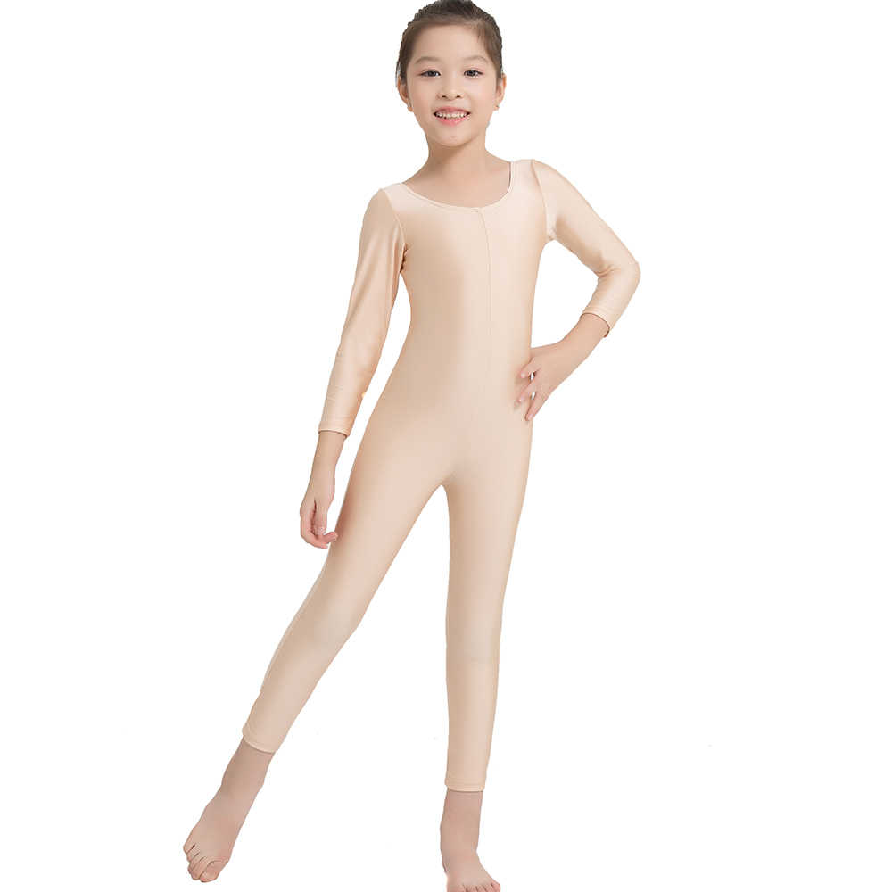 Kids Gymnastics Full Body Leotards Girls Ballet Bodysuit Costume Long Dance Wear