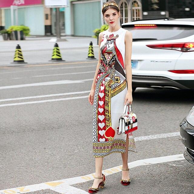 Catwalk New High Quality Runway Designer 2018 Spring Summer Fashion Women'S Party Vintage Printing Sleeveless Vest Long Dress