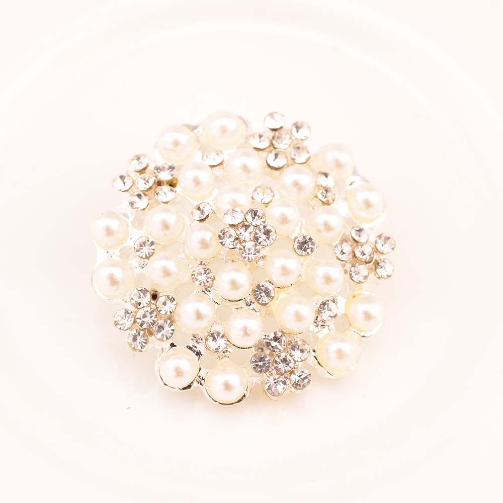 Rhinestone Pearl Button Used On Flower Center 25MM Silver Color Shank Back 100pcs lot