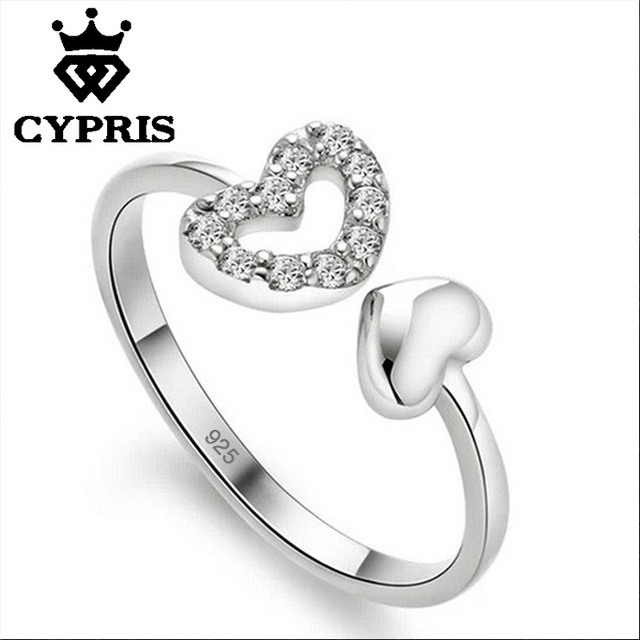 Heart Silver Plated Austrian Crystal Wedding Rings