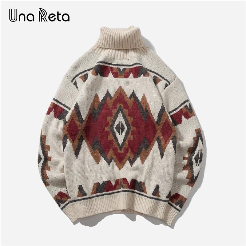 Una Reta Turtleneck Men's Sweater New Autumn Fashion Print Argyle Knitted Sweaters Casual Loose Vintage Pullover Men
