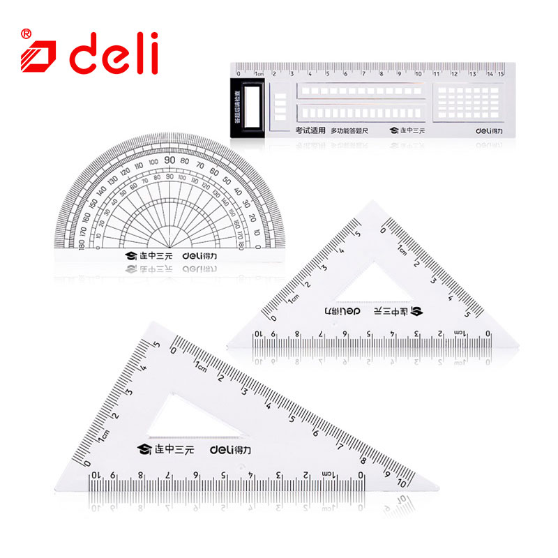 Deli 1 set students stationery ruler set for measuring drawing square triangle ruler protractor/four pieces set school supplies
