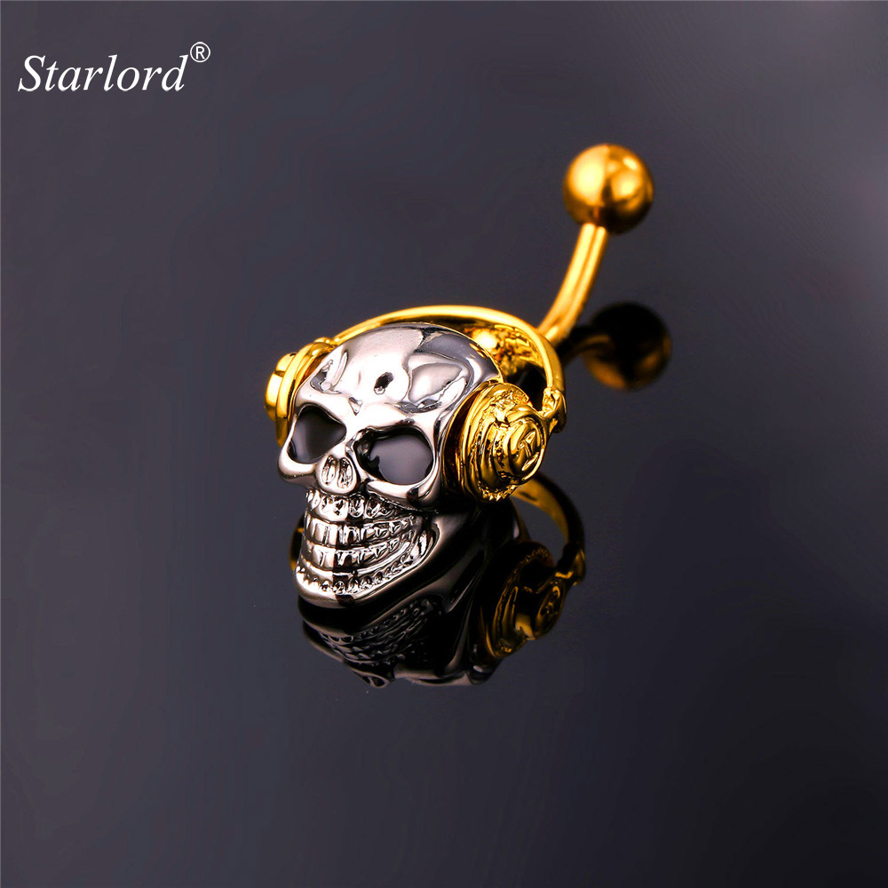 Gothic Body Jewelry Skeleton Skull With Walkman Music Belly Button Rings Women Gold Color Navel Piercing Nombril DB2162 60 pcs lot sexy rhinestone ball green leaf medical stainless steel piercing belly button rings body piercing navel jewelry