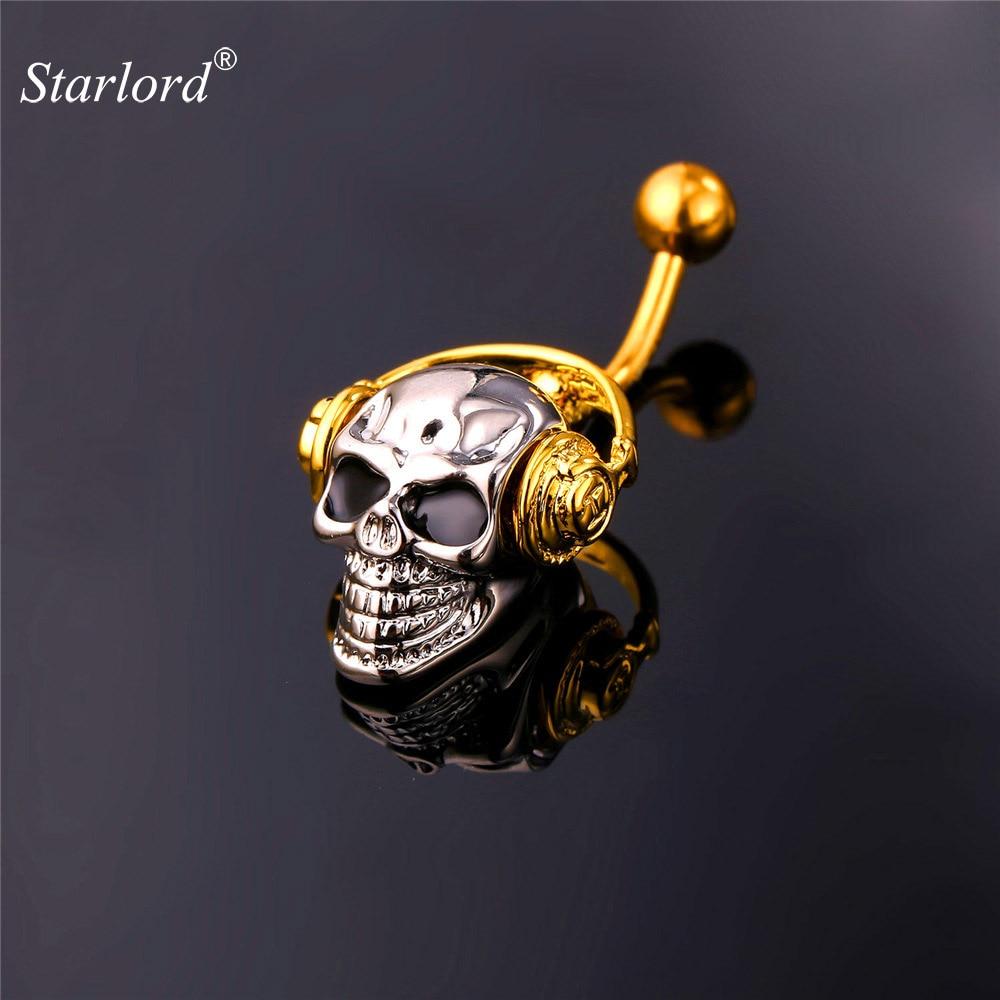 купить Gothic Body Jewelry Skeleton Skull With Walkman Music Belly Button Rings Women Gold Color Navel Piercing Nombril DB2162 по цене 339.31 рублей
