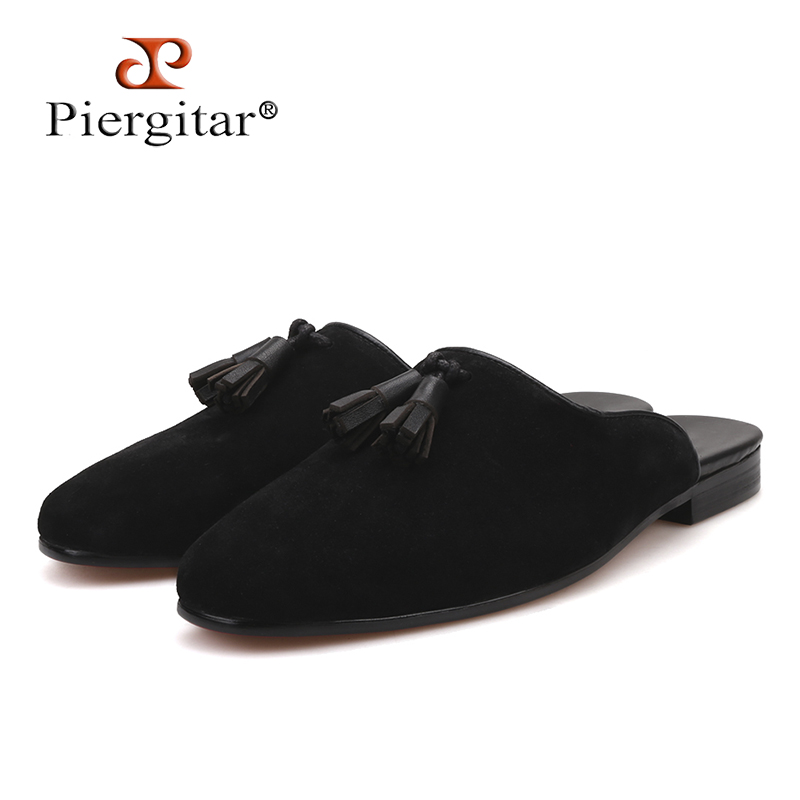 Piergitar new style Handmade Men's Suede Slippers Fashion party and show men's tassel shoes plus sizes half designs men loafers стоимость