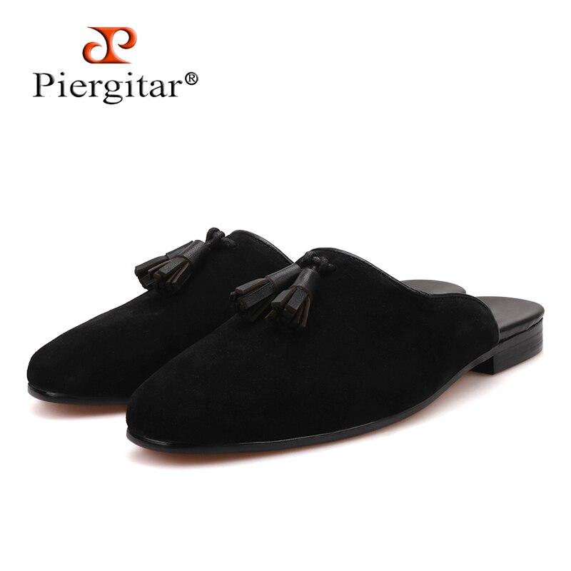 Ayakk.'ten Terlikler'de Piergitar yeni stil El Yapımı erkek Süet Terlik Moda parti ve gösteri erkek püskül ayakkabı artı boyutları yarım tasarımları erkek mokasen ayakkabıları'da  Grup 1