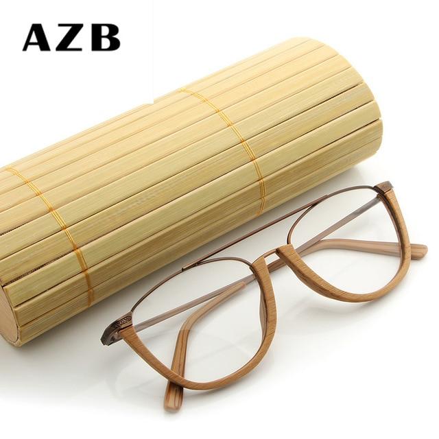Azb Retro Wooden Half Frame Sunglasses Mens Bamboo Sunglasses