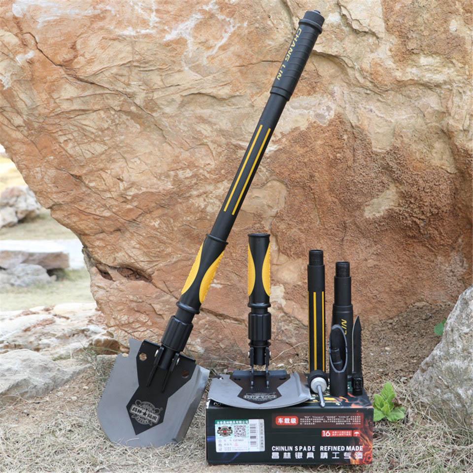 Multi function Camping Shovel Military Portable Folding Spade Trowel Dibble Pick Emergency Garden Outdoor Survival Tools N001