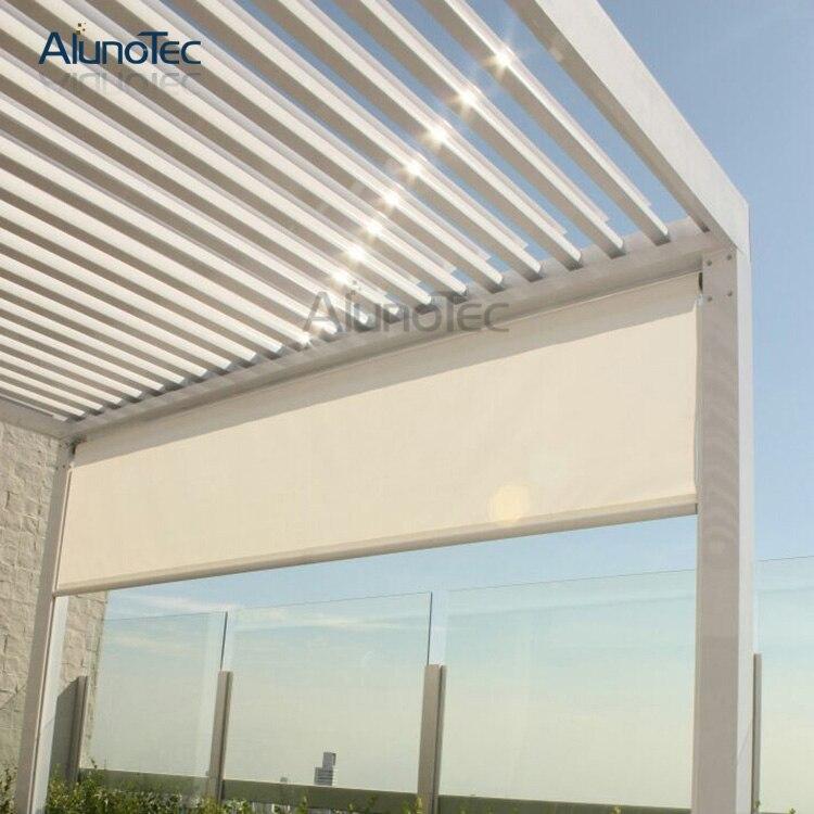 aluno m m de aluminio rejilla del techo del patio prgola resistente a la intemperie para sombrilla automtica e impermeab