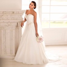 2016 На Складе Свадебные Платья Vestido де Noiva Casamento Robe De Mariage Милая Шифон Плюс Размер Пляж Свадебное Платье