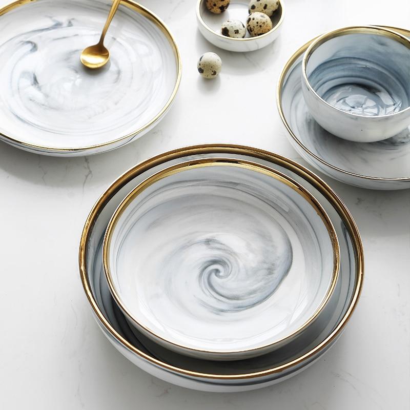 1 stcke marmor muster porzellan platte keramik teller geschirr abendessen set phnom penh exquisite hub marmor geschirr - Geschirr Muster