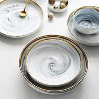 1pcs Marble pattern porcelain plate ceramic Dinner Plate tableware dinner set Phnom Penh Exquisite Stroke marble dinnerware