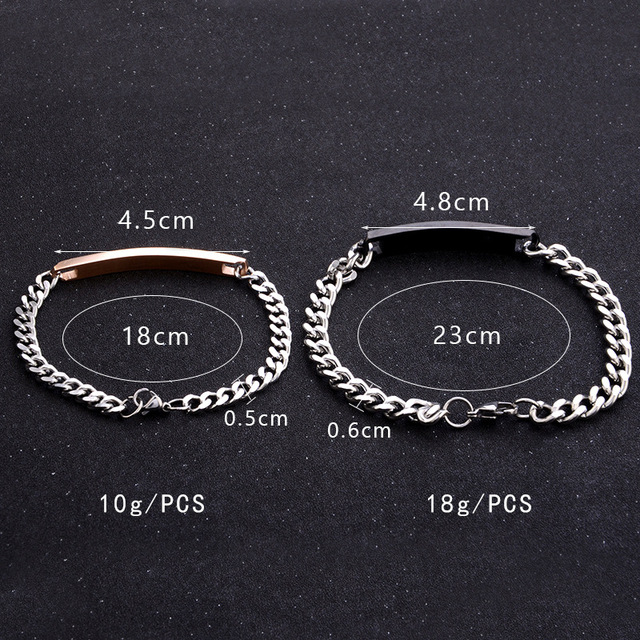2Pc/Set Queen King Stainless steel Stone Women Man Chain Crystal Couple Bracelet for Men snap jewelry bracelet Pulseira hombres 3