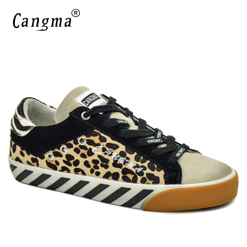 CANGMA Brand Sneakers Women Shoes Vintage Leopard Flats Horsehair Leather Golden Bass Breathable Woman Shoes Plus