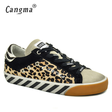 CANGMA Italian Brand Sneakers Women Shoes Vintage Leopard Flats Horsehair Leather Yellow Bass Breathable Woman Shoes Plus Size