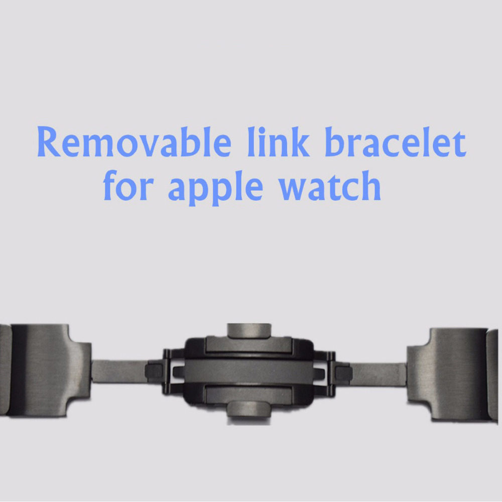 Correa de pulsera de enlace para Apple Watch 3/2/1 42mm 38mm banda Acero inoxidable metal negro pulsera para iwatch 3/2/1