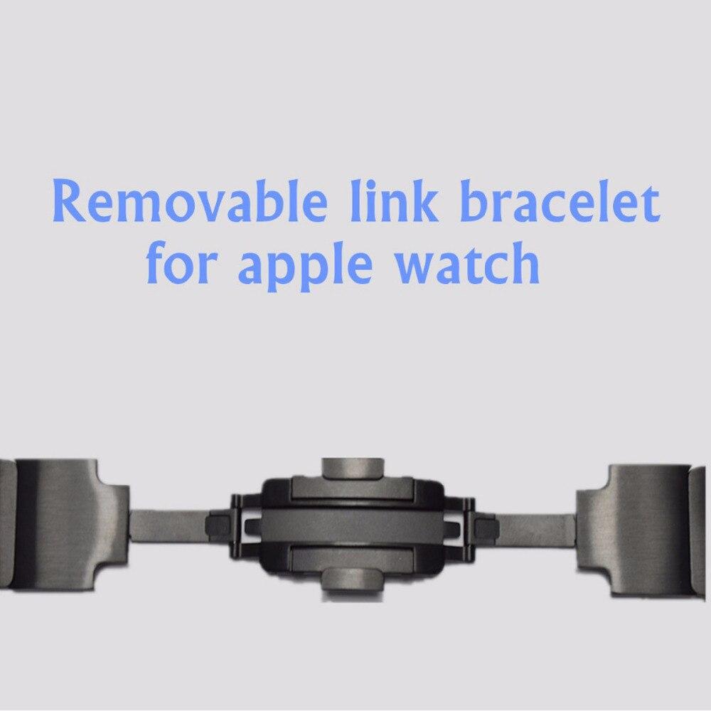 Link Armband Strap für Apple Uhr 3/2/1 42mm 38mm band Edelstahl metall schwarz armband handgelenk armband für iwatch 3/2/1