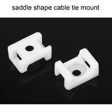 Крепления для кабельной стяжки, 100 шт., 4,6 мм, проволочный держатель, тип седла, пластиковый держатель, белый, черный, 10 ширина, 15 длина, Пластиковый кабель, белое крепление