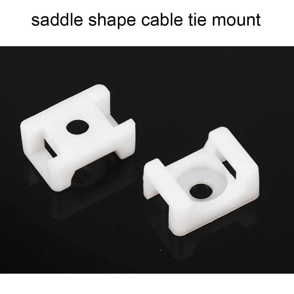 Mounts לקשור כבל 100PCs 4.6mm חוט Buddle אוכף סוג פלסטיק מחזיק לבן שחור 10 רוחב 15 אורך פלסטיק כבל לבן הר