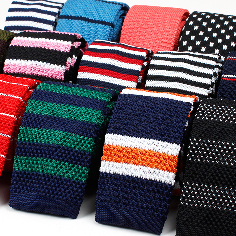 Mens Knit Tie 5.5cm Width Narrow Slim Neck Tie Striped Navy Colorful Woven Flat Neckties Party Business Cravate Suit Gift Sets