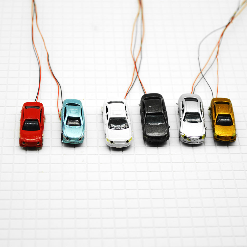 50pcs Wholesale model LED light car 1 200 scale layout model car