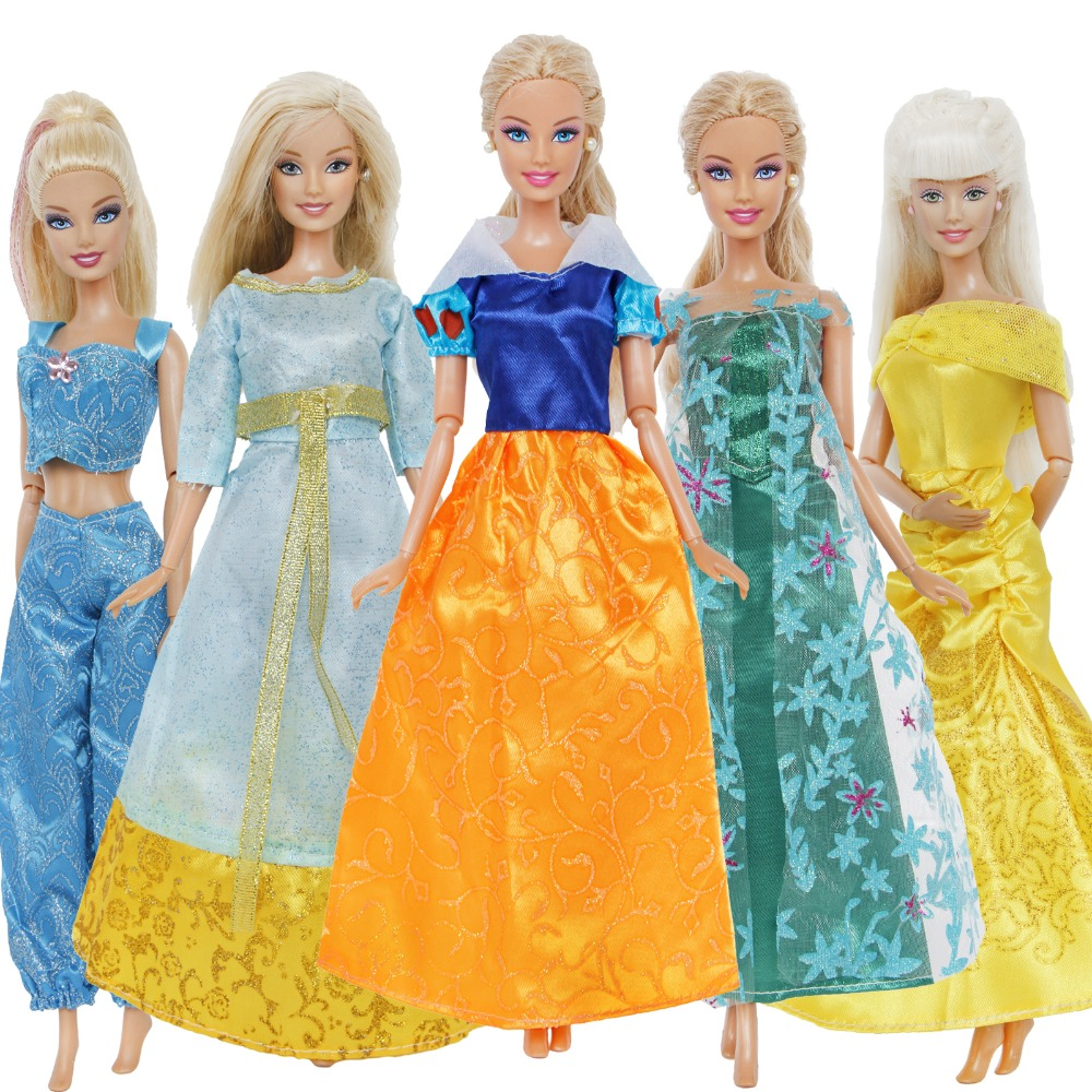 5 Pcs / Lot Fashion Dress Copy Snow White Elsa Belle Princess Gown Skirt Clothes For Barbie Doll Accessories Kids Toy Xmas Gift