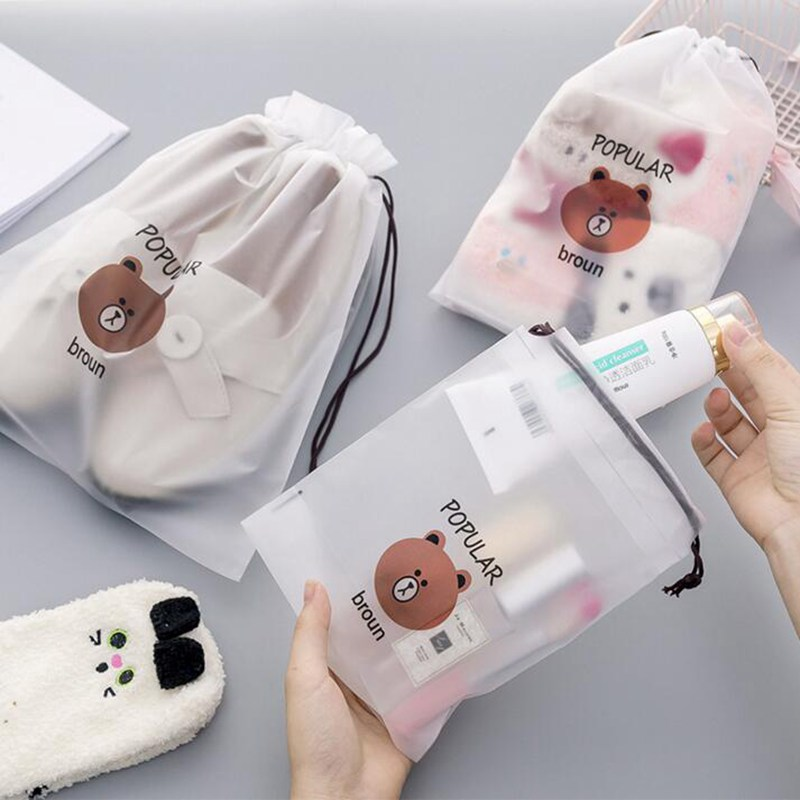 Animal Bear Cosmetic Bag Organizer Women Storage Pouch Cute Makeup Bag Transparent Travel Toiletry Bag Professional Make Up Bag