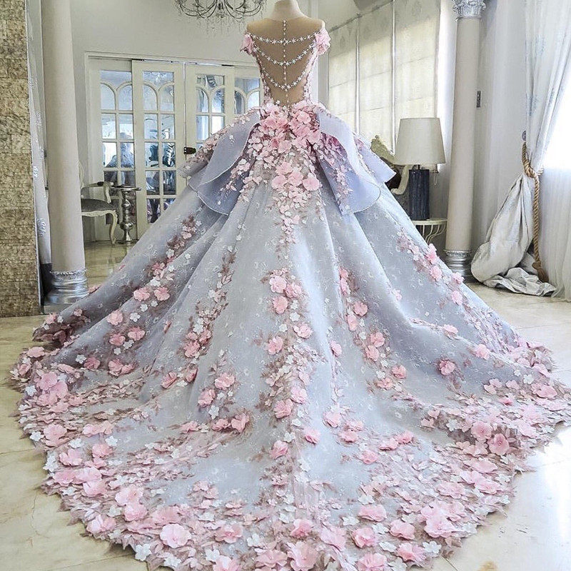 Luxury-Blue-Wedding-Dress-Floor-Length-Sheer-Crew-Neckline-Lace-Appliques-Hand-Made-Pink-Flowers-3D