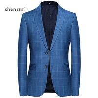 SHENRUN spring New High Quality Smart Fashion Plaid Blue Casual Suit Blazer Men,Mens Blazer Hombre Casual Jacket Plus size M 4XL