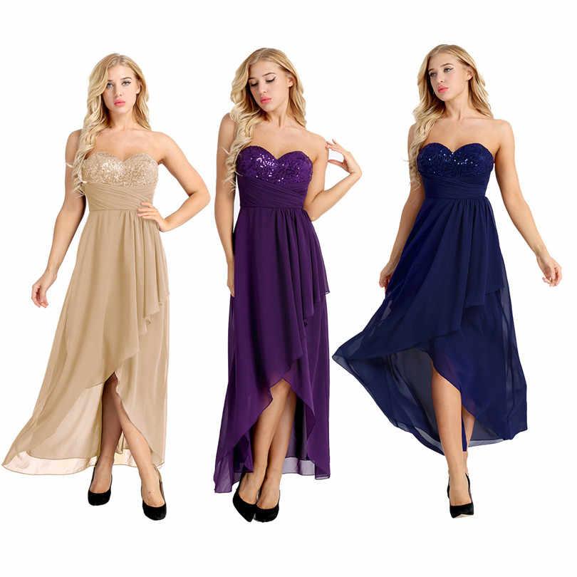 6bba2fa9d42d2 ... Freebily New Women Sweetheart Strapless Chiffon Long Dress Asymmetric  Chiffon Elegant Sequins Bridesmaid Maxi Dress Built ...