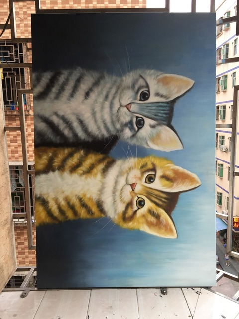 Abstract Decorative Hand-painted Cute And Beautiful Cats Mural Paintings Of Doublecats  Furnishing Restaurant Oil Painting