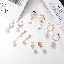 Korean Gold Pearl Drop Earrings for Women 2019 Geometric Irregular Pearls Dangle Earring Big Za DIY Wedding Party Pearl Jewelry цена и фото