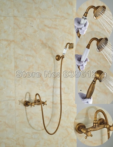 цена на Antique Brass Bathroom Handheld Shower Faucet Wall Mounted Dual Cross Handle Mixer Tap with Ceramic Hand Spray W022