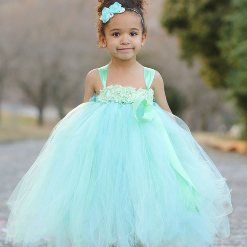 495b2afd6 Princess Mint Green Flower Girl Dress with Shabby Flower headband Girl Tutu  Dress For Easter Birthday Wedding Party-in Dresses from Mother & Kids on ...