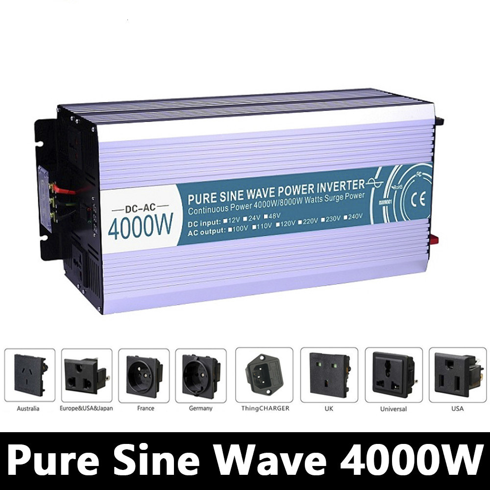 Grid Tie 4000W Pure Sine Wave Inverter,DC 12V/24V/48V To AC110V/220V Off Grid Solar Inverter,voltage Converter Work With Battery full power 4000w pure sine wave inverter dc 12v 24v 48v to ac110v 220v off grid solar inverter with battery charger and ups