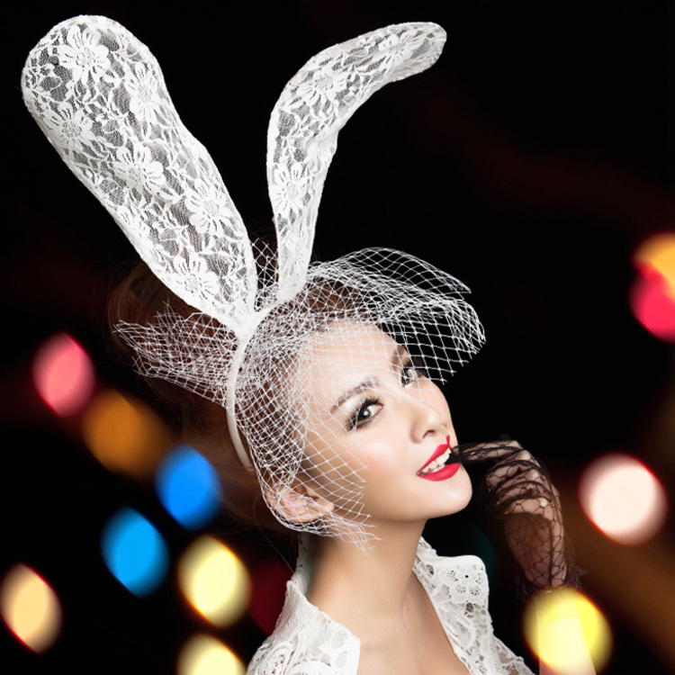 Lady Gaga White Lace Cap rabbit ears headband lace veil mask Bunny portrait props