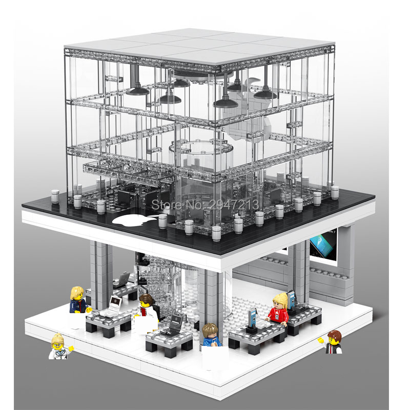 hot compatible LegoINGlys city Street view Building Blocks LED Apple flagship store modle with Salesperson figures brick toys hot sembo block compatible lepin architecture city building blocks led light bricks apple flagship store toys for children gift