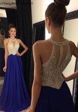 Neue Art Und Weise A Linie Halter Rot Blau Chiffon Lange Abendkleider 2016 Sexy Backless Friesen Bodenlangen Abendkleid