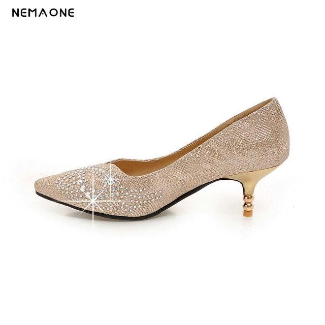 6b05b6be21b NEMAONE 2017 vrouwen hoge hakken trouwschoenen goud rood zilver strass  zoete bruids schoenen 6 cm hak