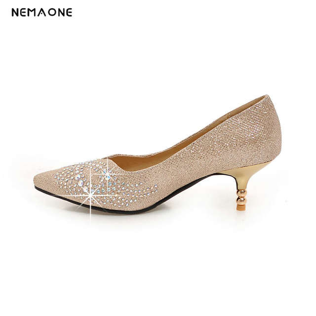 NEMAONE 2017 women s high heels wedding shoes gold red silver rhinestone  sweet bridal shoes 6 cm. placeholder ... 0302704df2d9