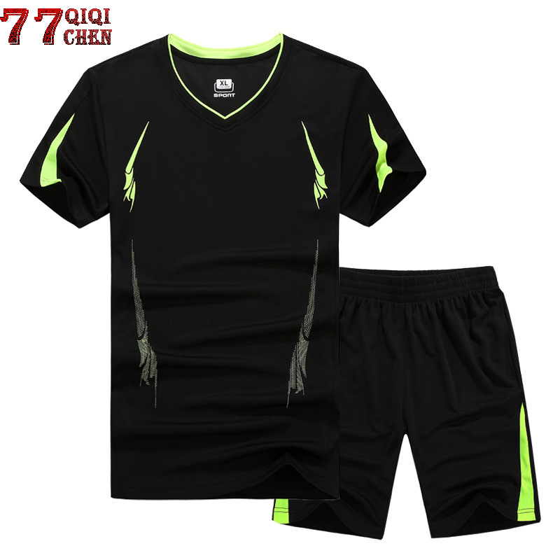 2018 Summer Men Clothing Set Sporting Suit Short Sleeve T Shirt+Shorts Two Piece Set Sweatsuit Quick Drying Tracksuit Men M-9XL