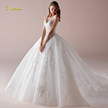 Loverxu V Neck Ball Gown Wedding Dress Chic Applique Beading Tank Sleeve Backless Bride Dress Chapel Train Bridal Gown Plus Size