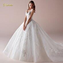 Loverxu V ネック夜会服のウェディングドレスシックなアップリケビーズタンクスリーブ花嫁のドレスの列車の花嫁衣装プラスサイズ